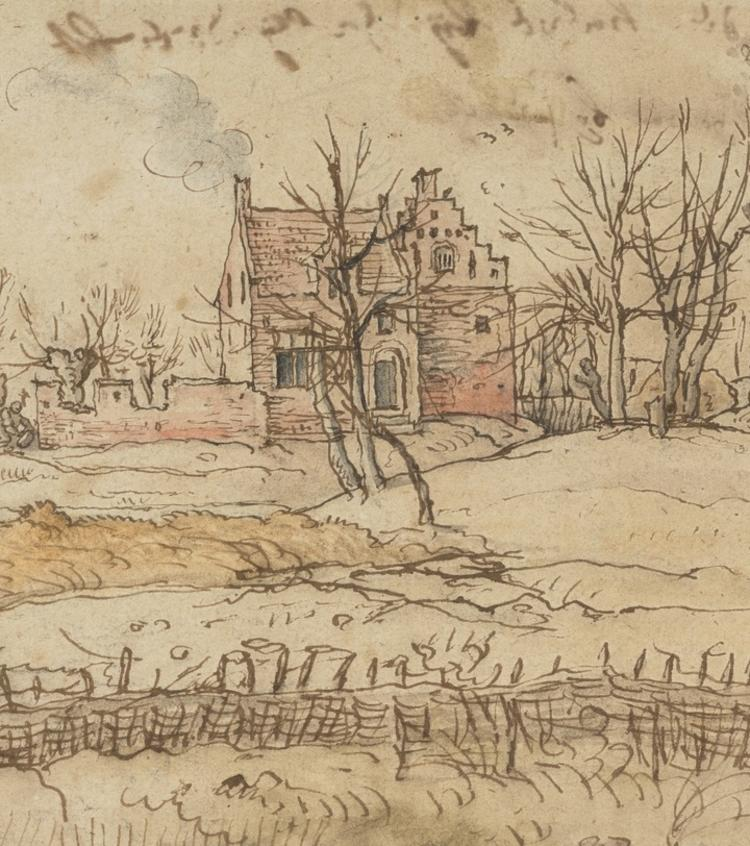 A 17th Drawing of a Scottish Farm Near Zwyndrecht, NGS